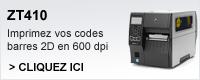 ZT410 Imprimer cos codes barres 2D en 600dpi